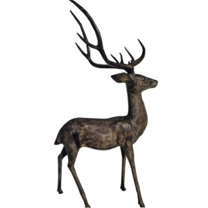 Grand cerf en aluminium (couleur bronze)