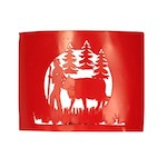 Applique metal berger et sa vache - rouge (forme rectangle)