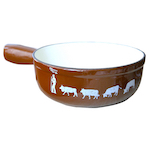 Cow fondue pot in iron and Chocolate color
