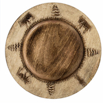 Round cow wooden charger plate