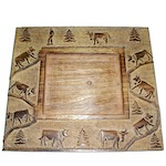 Square cow wooden charger plate