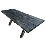 teck table top with metal legs