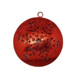 Red ball with snowflakes to hang